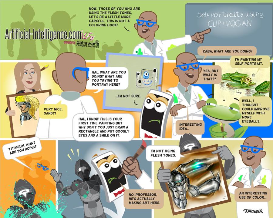 Artificial-Intelligence.com(ics): Art School (CLIP+VQGAN) (Comic #25)